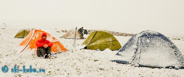 Первый снег, горные лыжи