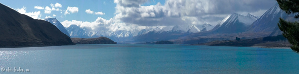 Озеро Пукаки с видом на Маунт Кук