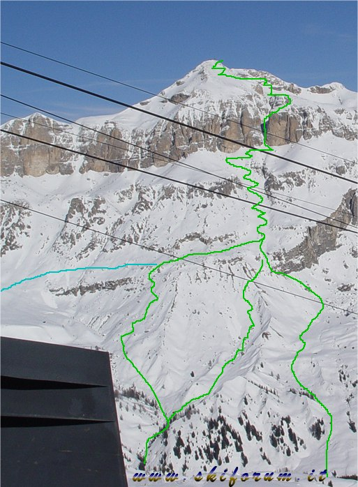 Piz Boe.  Горные лыжи в Канацеи Селла Ронда Бугель гайдбук