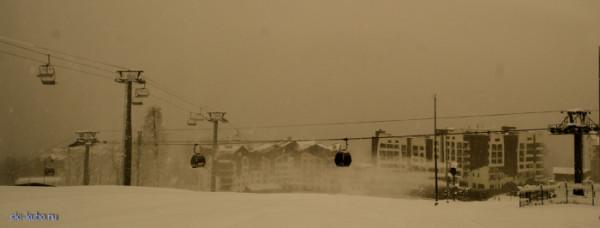 Снег и оснежение на горнолыжном курорте Роза Хутор, красная поляна 23 декабря 2014