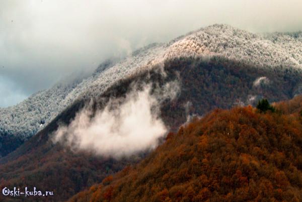 Снегопад в Красной Полляне